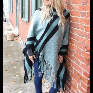 Block Striped Fringed Poncho- Teal